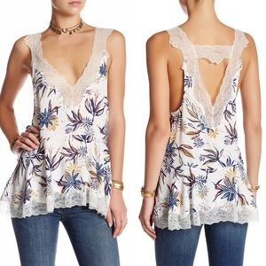 Free People White Bell Flower Double V Tunic Small